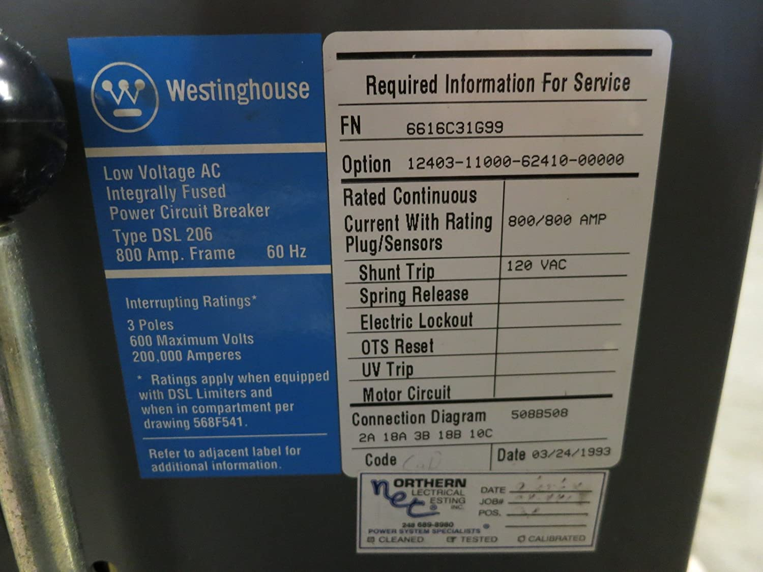 Westinghouse Dsl 206 800a Frame Sensor Breaker Digitrip Rms 700 At Amp T Wiring Diagram T73cls Dsl206 Ls Industrial Scientific