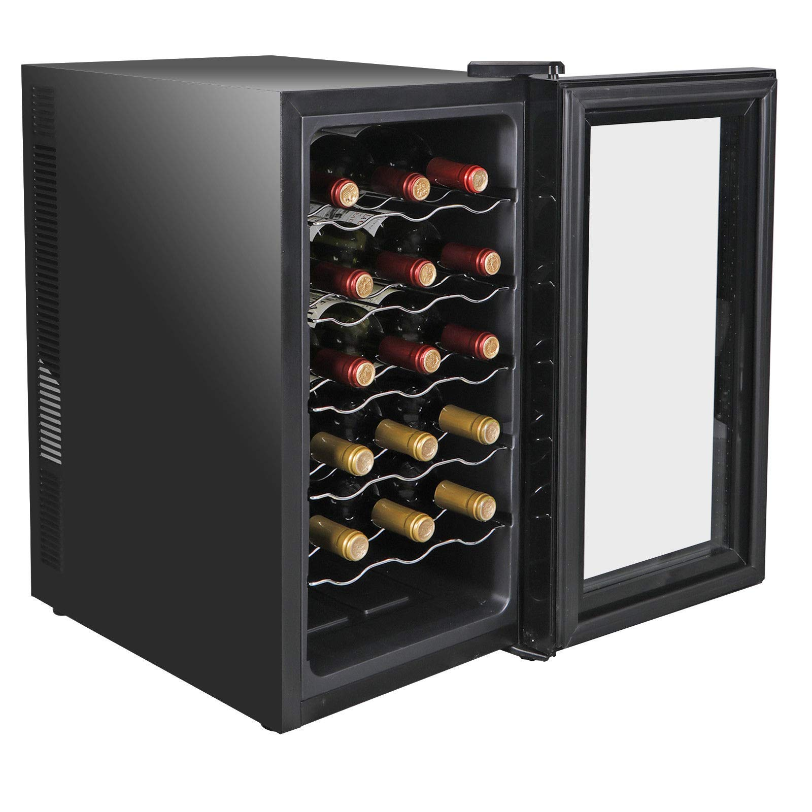 Add Elegance Of Your Room Reinforced Glass Door With Air-Tight Seal Chilling And Storing 18 Bottles Of Wine, Cooler Refrigerator Quiet Temperature Control by nitipezzo