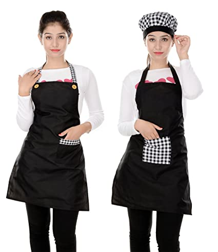 Switchon Waterproof Kitchen Black Apron with Front Pocket Pack of 2