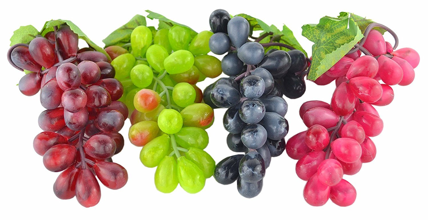 4 Bunches of Artificial Black ,Red, Green and Purple Grapes Fake Fruit Home House Kitchen Party Wedding Decoration Photography JEDFORE