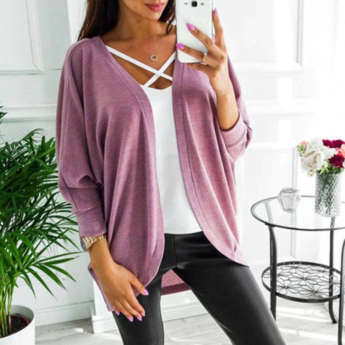 Hot Sale!Women's Cardigans Neartime Womens Kintted Cardigan Asymmetric Sweater Hem Long Sleeve Coat Tops (L, Pink) by NEARTIME (Image #4)
