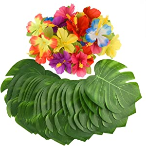 """KUUQA 60 Pcs Tropical Party Decoration Supplies 8"""" Tropical Palm Monstera Leaves and Hibiscus Flowers, Simulation Leaf for Hawaiian Luau Party Jungle Beach Theme Table Decorations"""