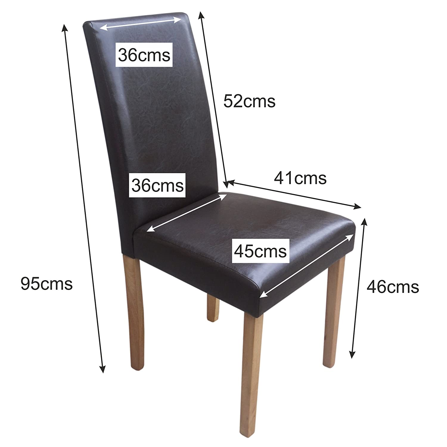 Set of 4 Brown Leather Look Contemporary Dining Chairs Amazon