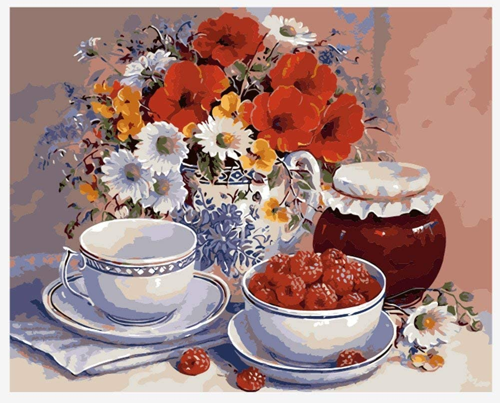 Kit de pintura acrílica por números.Flores rojas