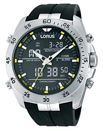 539bb0d99d11 Lorus RW619AX9 - Reloj de Cuarzo para Hombre con Correa de Goma negra   Amazon.es  Relojes