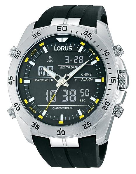 Lorus RW619AX9 - Reloj de Cuarzo para Hombre con Correa de Goma negra: Amazon.es: Relojes