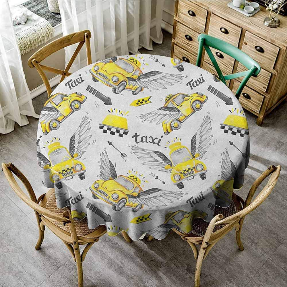 ScottDecor Circular Table Cover Cars Watercolor Hand Drawn Flying Taxis with Magical Wings Direction Arrows Travel Cab Yellow Grey Patterned Round Tablecloth Diameter 36'' by ScottDecor