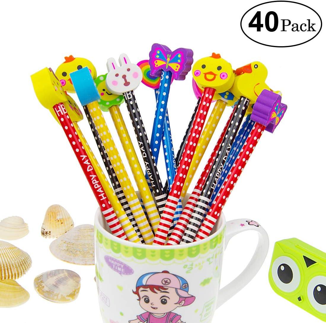 Yolistar Conjunto de lápiz de Dibujos Animados, 40 Piezas de lápiz de Madera con lápices de Color Grafito de Goma con borradores, Material Escolar Regalo de los niños, para Fiesta de cumpleaños