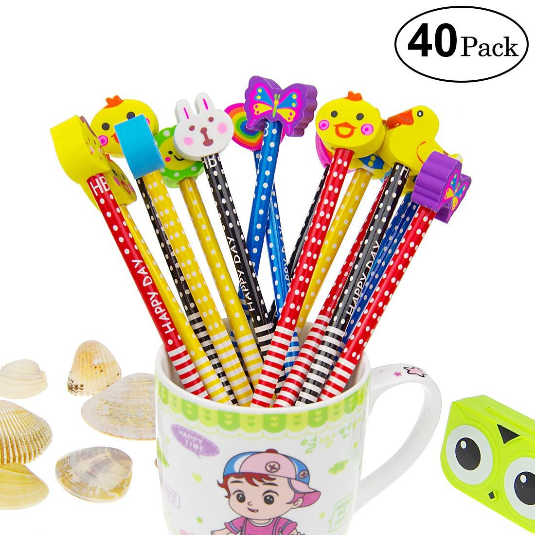 Yolistar Conjunto de lápiz de Dibujos Animados, 40 Piezas de lápiz de Madera con lápices de Color Grafito de Goma