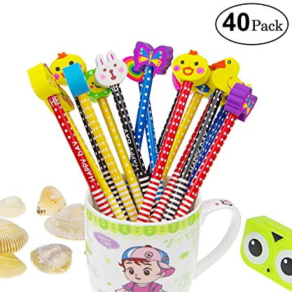 Yolistar Conjunto de lápiz de Dibujos Animados, 40 Piezas de lápiz de Madera con lápices de Color Grafito de Goma con borradores, Material Escolar ...