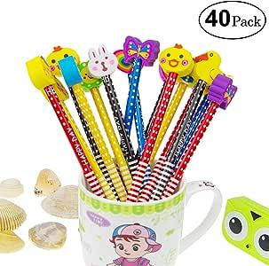 Yolistar Conjunto de lápiz de Dibujos Animados, 40 Piezas de lápiz de Madera con lápices de Color Grafito de Goma con borradores, Material Escolar Regalo de los niños, para Fiesta de cumpleaños: