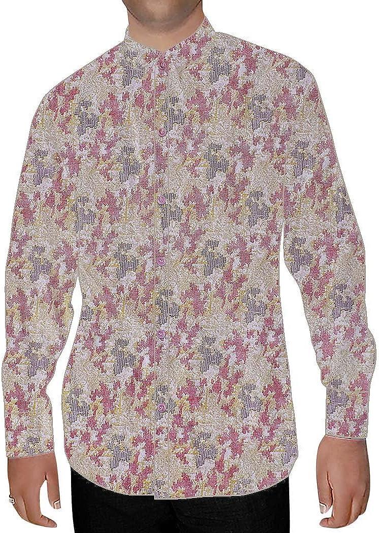 INMONARCH Mens Pink Printed Cotton Nehru Shirt NSH16006CUSTOM-MADE Custommade Pink