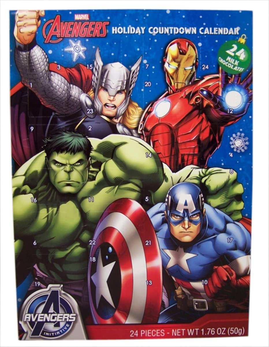 Advent Holiday Countdown Calendar with 24 Milk Chocolates (Marvel Avengers)