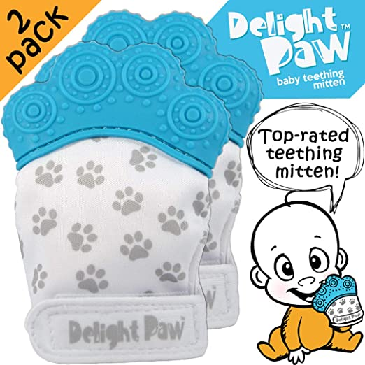 Delight Paw | Baby Teething Mitten 2 Pack | Mom Designed | Self Soothing Pain Relief | Hygienic Travel Bag | Mittens BPA Free | Like Munch Mitt | Baby Boy Baby Girl | Babies 3-12 Months | Bubbly Blue