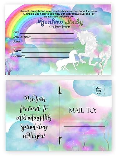 Amazon rainbow baby shower invitations miracle baby unicorn rainbow baby shower invitations miracle baby unicorn invitation 20 count 4x6 inch postcard filmwisefo