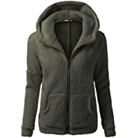 iHENGH Womens Clothing, Autumn Winter Teddy Bear Jacket Fuzzy Fleece Hooded Coat Outdoor Casual Hoodies Open Front Oversized Cardigan with Pockets, S-5XL