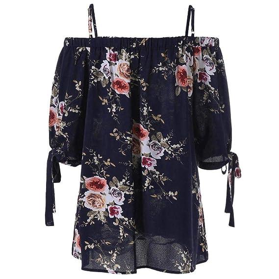 Blusa para Mujer de Moda Camis Camisa Estampada con Estampado Floral Blusa de Hombro Frío Tops