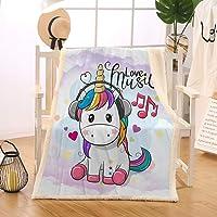Blessliving Fuzzy Unicorn Blanket Soft Kid Fleece Blanket Cartoon Unicorn Wearing Headphones Girls Sherpa Plush Throw