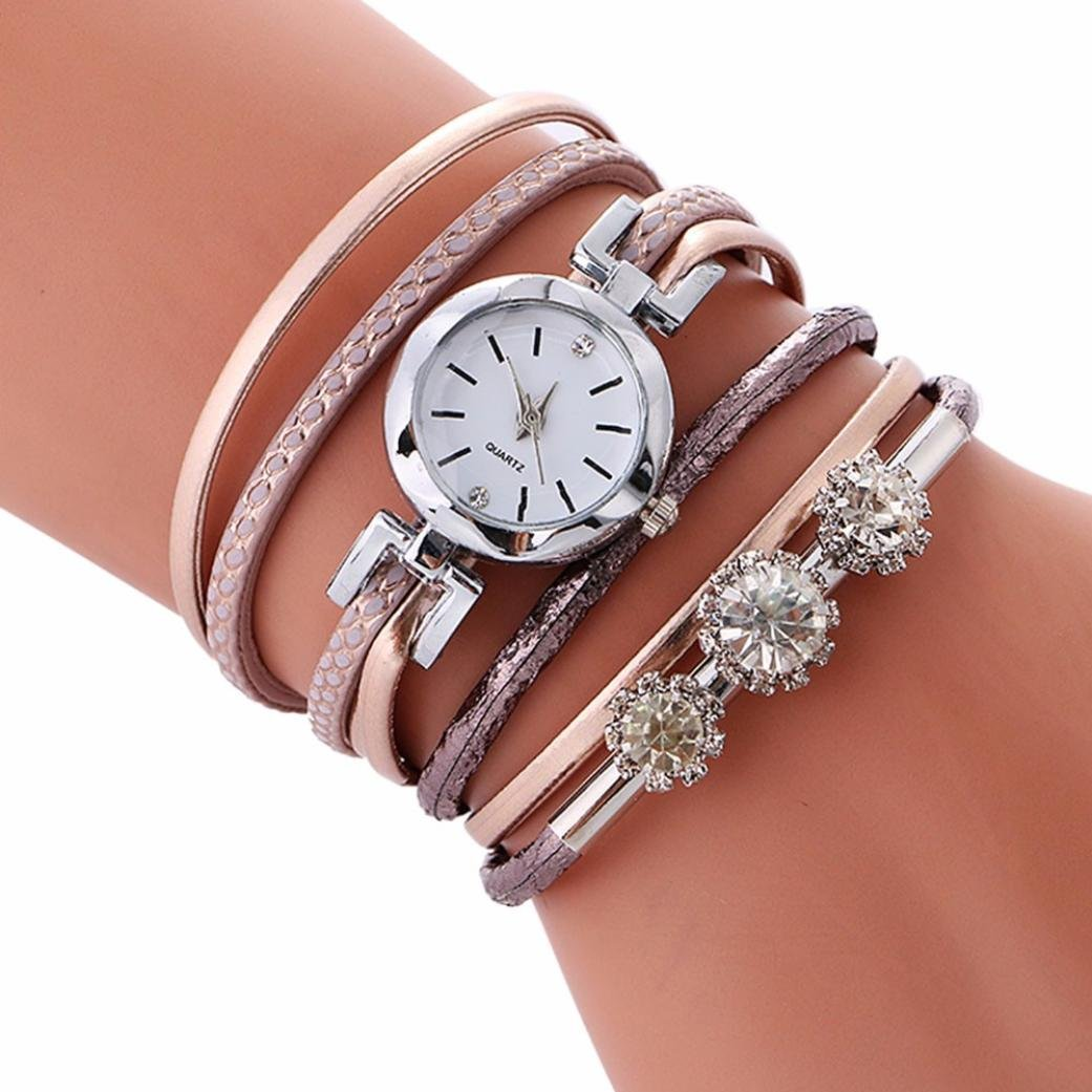 Swyss Women's Popular Multi-Layer Diamond Bracelet Quartz Watch Key Pendant Chic Jewelry Charm Accessories Fashion Gift (Rose Gold #001)