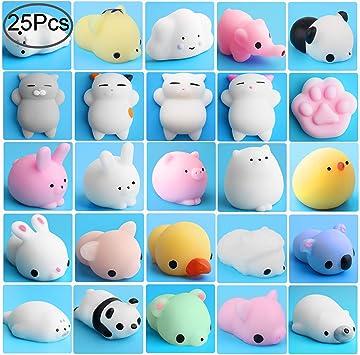 Outee Mochi Squishy Toys, 25 Pcs Mini Squishy Animals Mochi