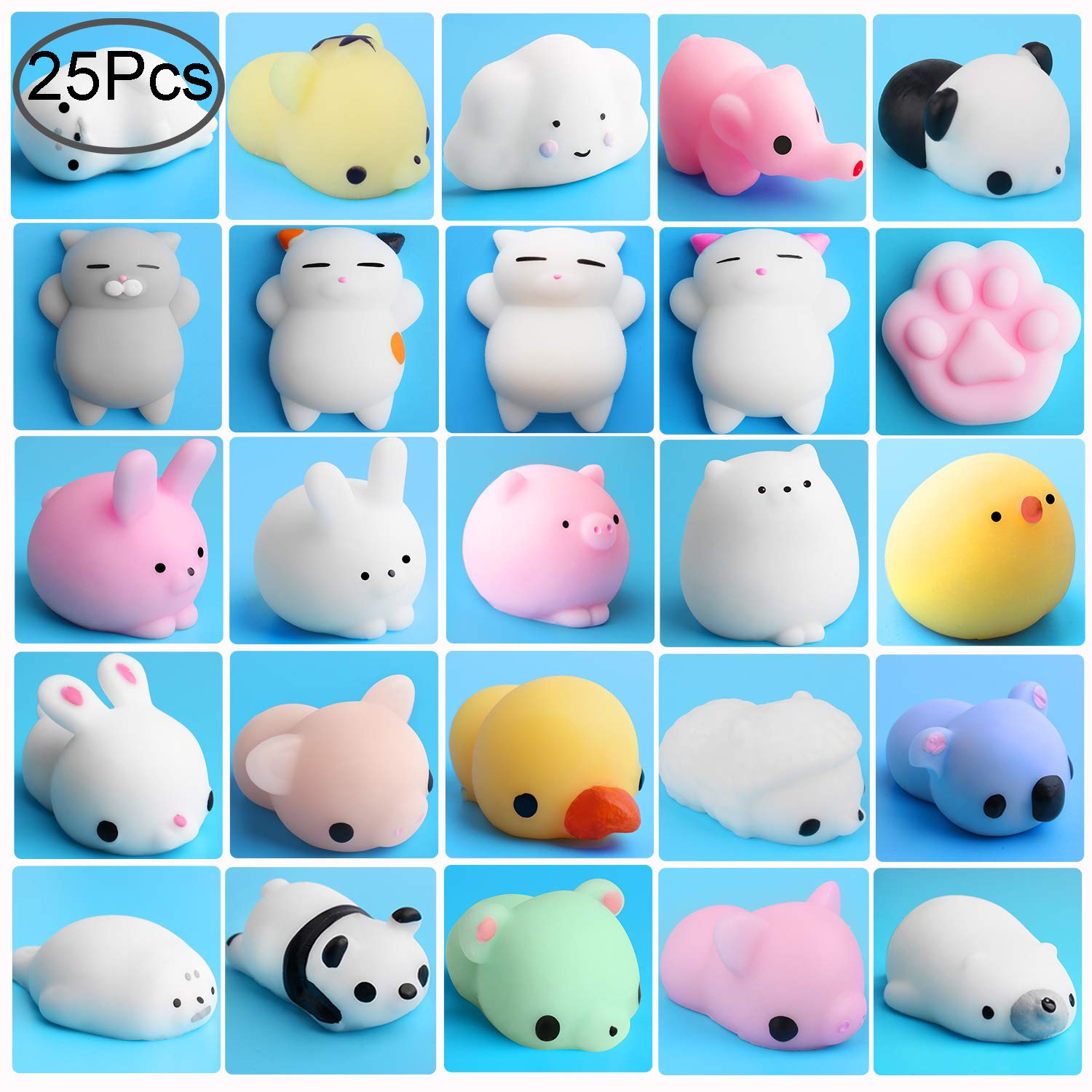 Image of: Background Colorful Outee 25 Pcs Mochi Squishy Animals Mini Squishies Kawaii Animal Toys Stress Relief Cat Squishy Mochi Squeeze Mini Squishies Seal Rabbit Chicken Duckling Amazoncom Amazoncom Outee 25 Pcs Mochi Squishy Animals Mini Squishies Kawaii