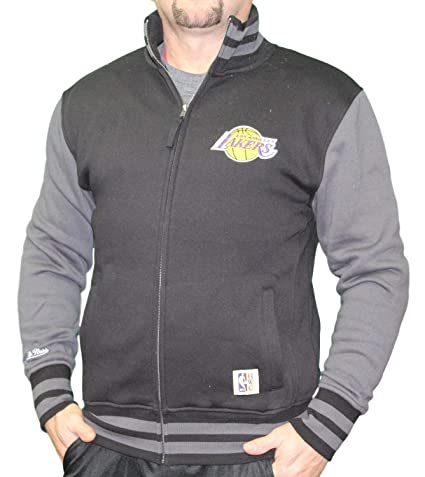 reputable site 184d7 9667a Mitchell   Ness NBA Los Angeles Lakers Varsity Fleece Jacket (Black, ...