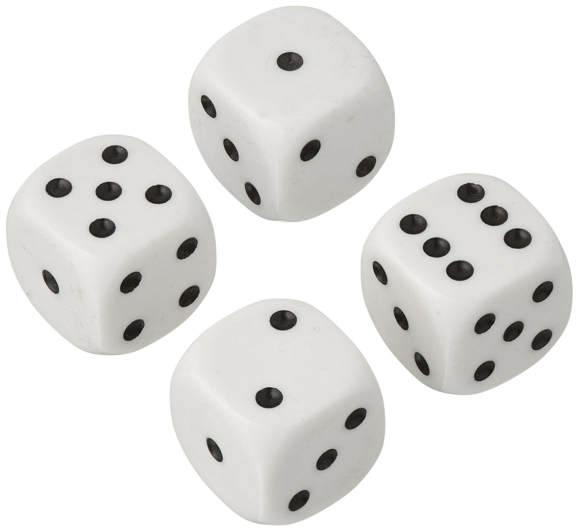 Kole Imports Large Jumbo Dice 7/8'' (22mm) White with Black Pips - Set of 4