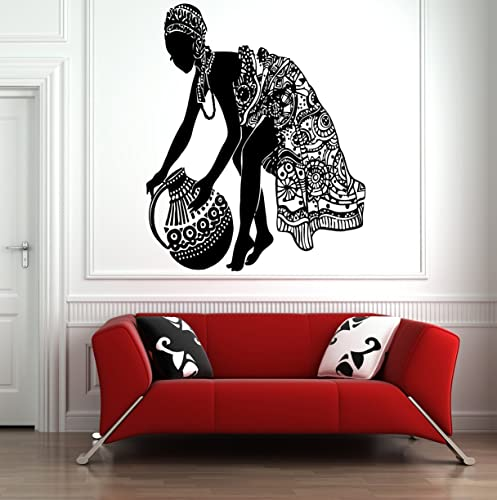 Tribal African Woman Decal Beautiful Afro Girl Home Decor Wall Art HS165