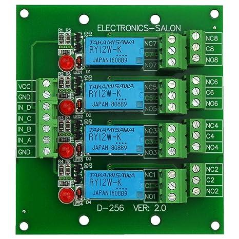 Electronics-Salon 4 DPDT Signal Relay Module Board, DC 12V