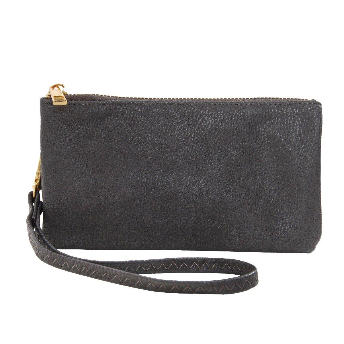 Humble Chic Vegan Leather Wristlet Wallet Clutch Bag - Small Phone Purse Handbag, Charcoal Grey, Dark Gray by Humble Chic NY