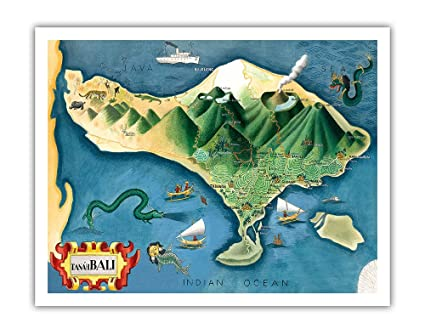 Amazon Com Map Of Bali Indonesia Tanah Tanah Lot