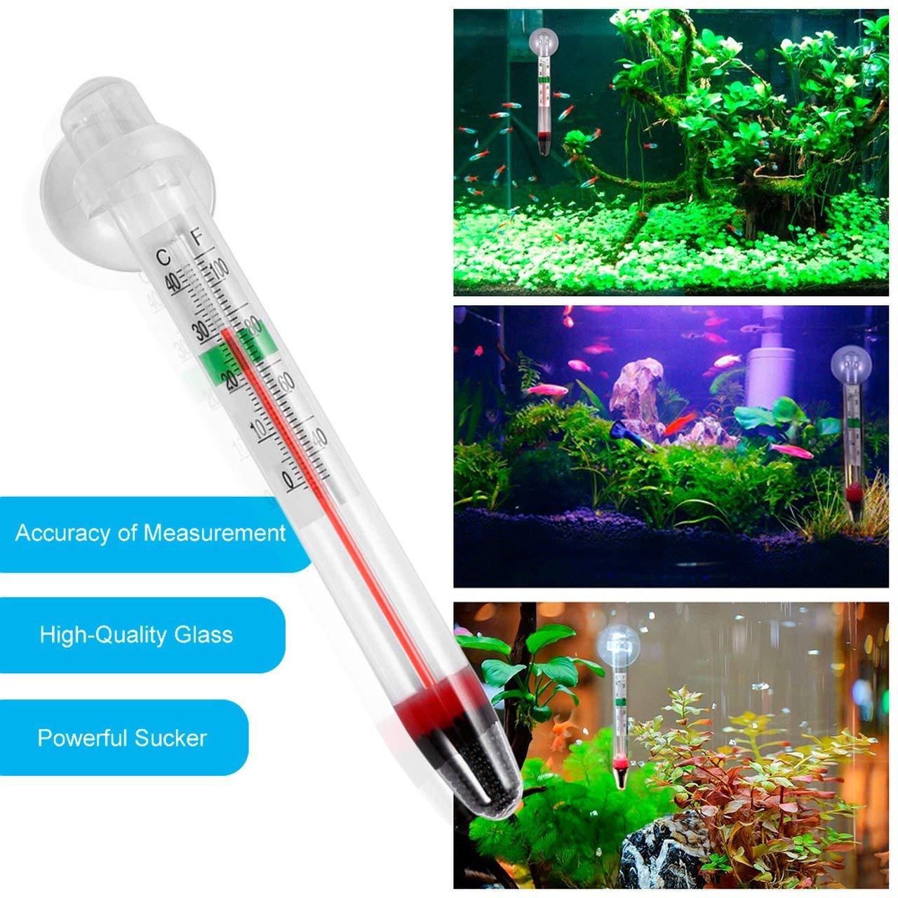 ESjasnyfall Medidor de Vidrio Acuario Tanque de Peces Term/ómetro de Temperatura del Agua con Ventosa Hogar Digital 0-44 Grados CE Blanco