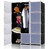 Lifewit Armadio Modulare DIY in plastica con Porte 12-cube per Vestiti Giocattoli Borse Scarpiera Organizzatore Multi-uso Nero