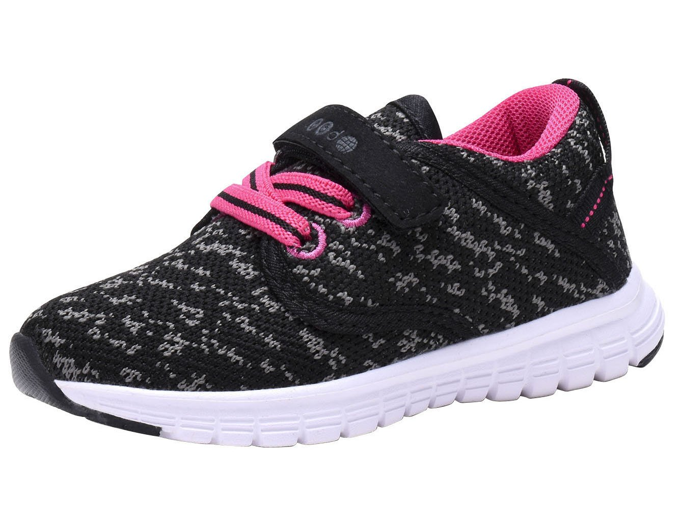 COODO CD3001 Toddler's Lightweight Sneakers Girls Casual Running Shoes New Black/Fuchsia-8