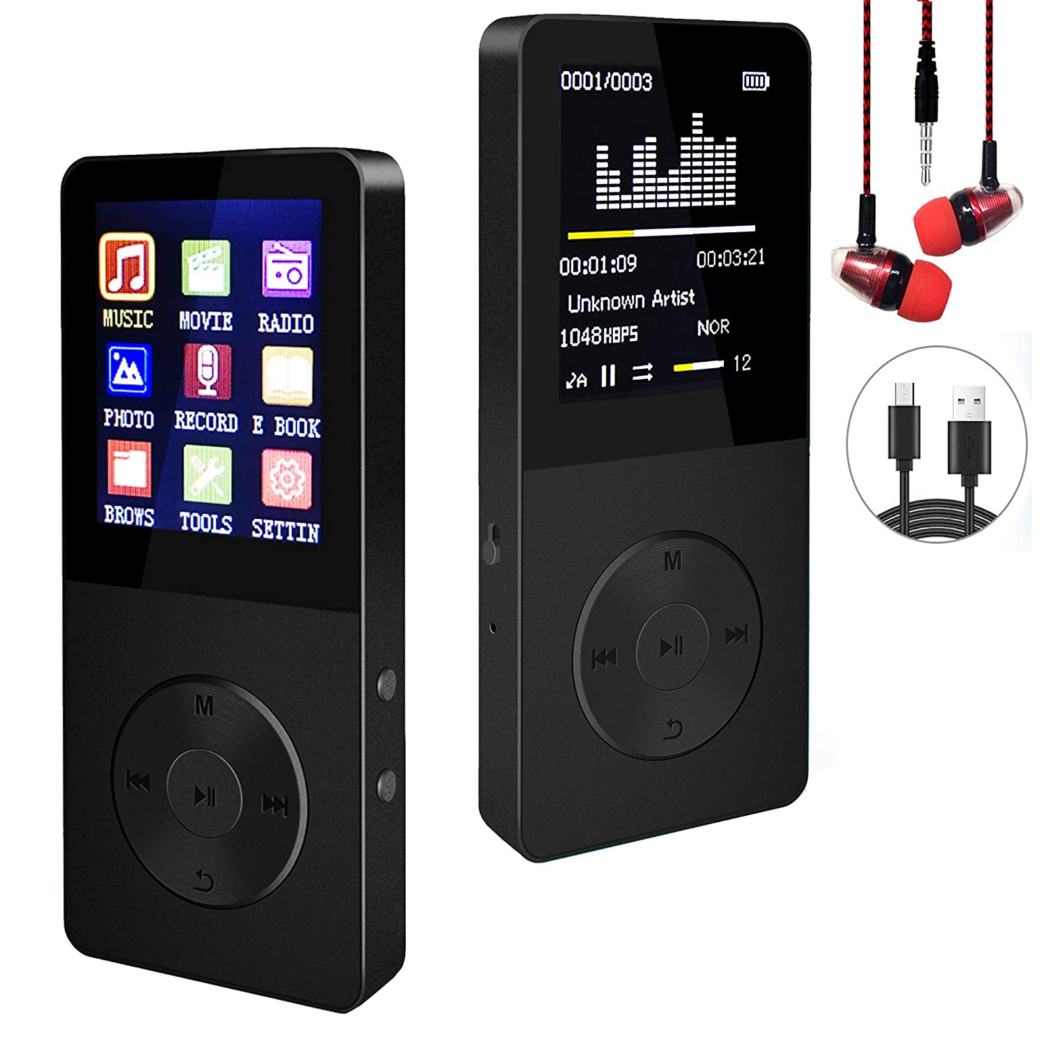 Touch-Buttion 2.4 Screen with Earphone Ebook/&Picture Reader MP3 Player with Bluetooth 4.1 Video Player 16GB Hi-Fi Lossless Music Player with FM Radio Voice Recorder Speaker