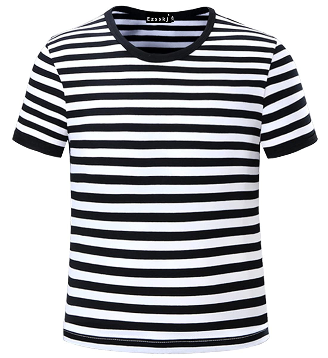 ea51a232c0a Amazon.com  Ezsskj Kids Boys Children s Toddler Striped T Shirts Short  Sleeve Crew Neck Stripes Tee  Clothing