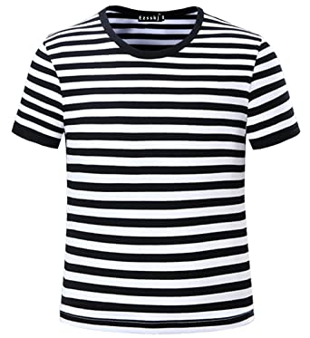 35c46d43629 Ezsskj Kids Boys Children s Toddler Striped T Shirts Short Sleeve Crew Neck Stripes  Tee Black