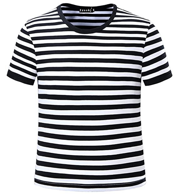 19f9ad15d3 Image Unavailable. Image not available for. Color: Ezsskj Kids Boys Children's  Toddler Striped T Shirts Short Sleeve ...