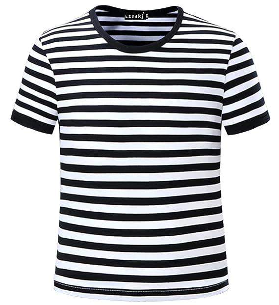 61e738d5f Image Unavailable. Image not available for. Color: Ezsskj Kids Boys  Children's Toddler Striped T Shirts Short Sleeve Crew Neck ...