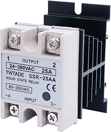 TWTADE SSR-25AA 25A AC 80-250V to AC 24V-380V Ac to Ac SSR Solid State Relay Heat Sink
