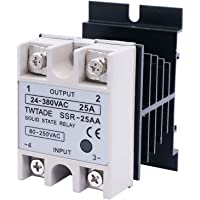 TWTADE SSR-25AA 25A AC 80-250V to AC 24V-380V Ac to Ac SSR Solid State Relay + Heat Sink