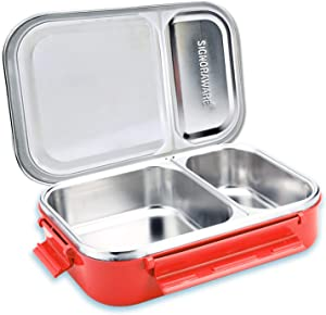 Signoraware Stainless Steel Bento Lunch Box   20-Ounce Eco Friendly Portion Control Lunchbox Containers   2-Compartment Metal Food Pail With Cover That Prevents Leaks & Spills (Red)