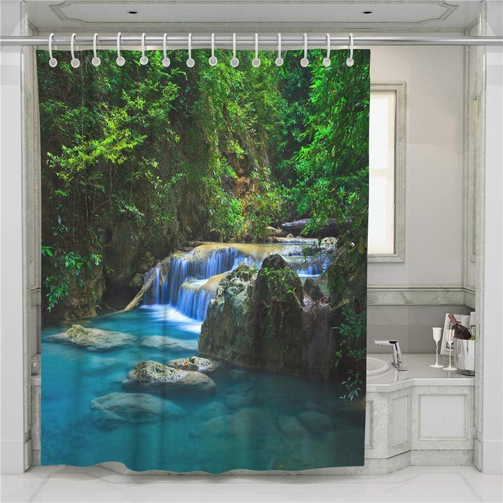 90x180cm,Verde Poliestere Resistente Tessuto Lavabile Impermeabile Tenda della Vasca da Bagno con 12 Ganci Chickwin Tende da Doccia 3D Digitale Verde Foresta Stampato