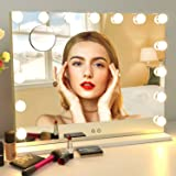 BSLE Hollywood Mirror with Lights Vanity Mirror with Lights,Tabletop Mirror with Dimmable LED Lights,3 Color Model, 10X Magni
