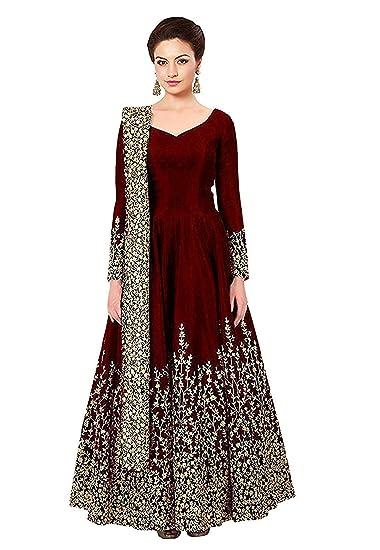 25c83ffa800cf Varudi Fashion Women s Embroidered Semi Stitched Anarkali Gown  (Morr1 Maroon Freesize)  Amazon.in  Clothing   Accessories