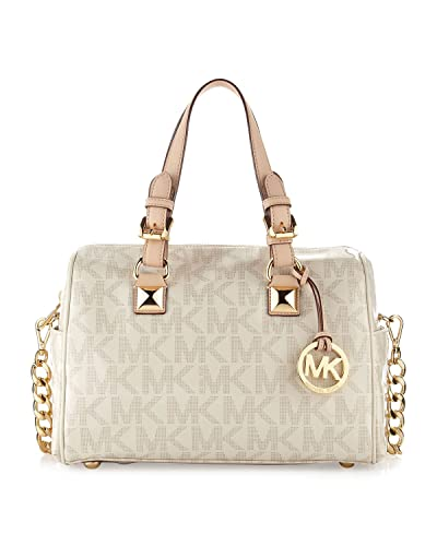 e23a2aab5ea197 MICHAEL Michael Kors MK Signature Grayson Medium Chain Satchel - Vanilla:  Handbags: Amazon.com