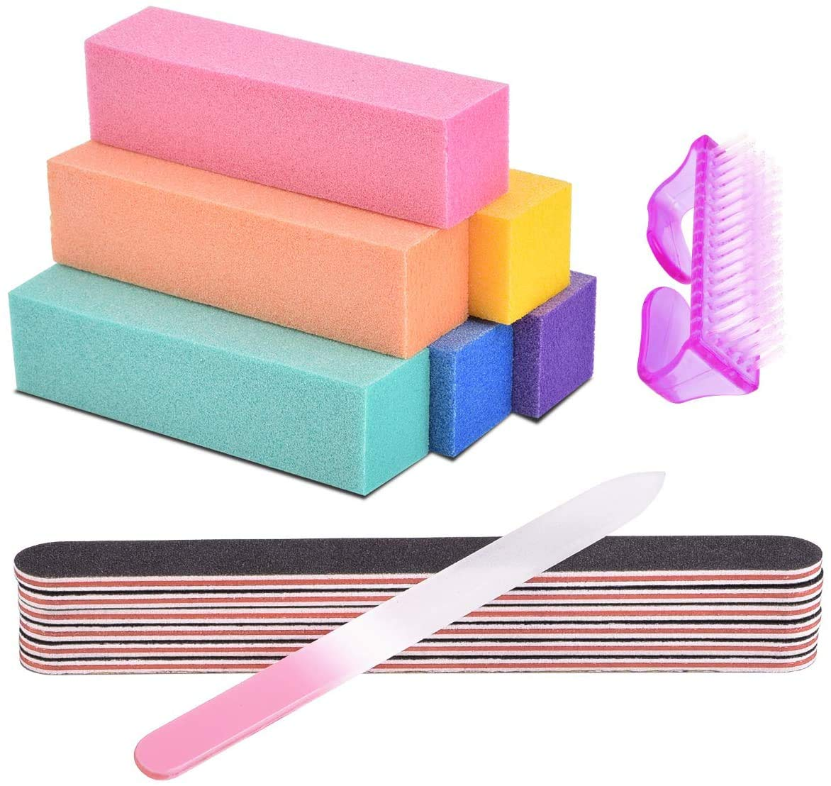 AIRSEE 14 Professional Nail Files and Buffers - Manicure Tools Kit Rectangular Nail Art Care Buffer Block Emery Boards Shine Kit for Natural, Gel, Acrylic Nails Nail Filer for Salon and Home Use : Beauty
