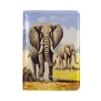 ALAZA Watercolor Grassland Elephant Passport Covers Holder Case Protector