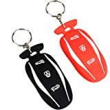 Fontic Rubber Key Fob Cover Case Protector Skin Jacket Keyless Entry For Tesla Model S Remote Key 2PCS Black&Red