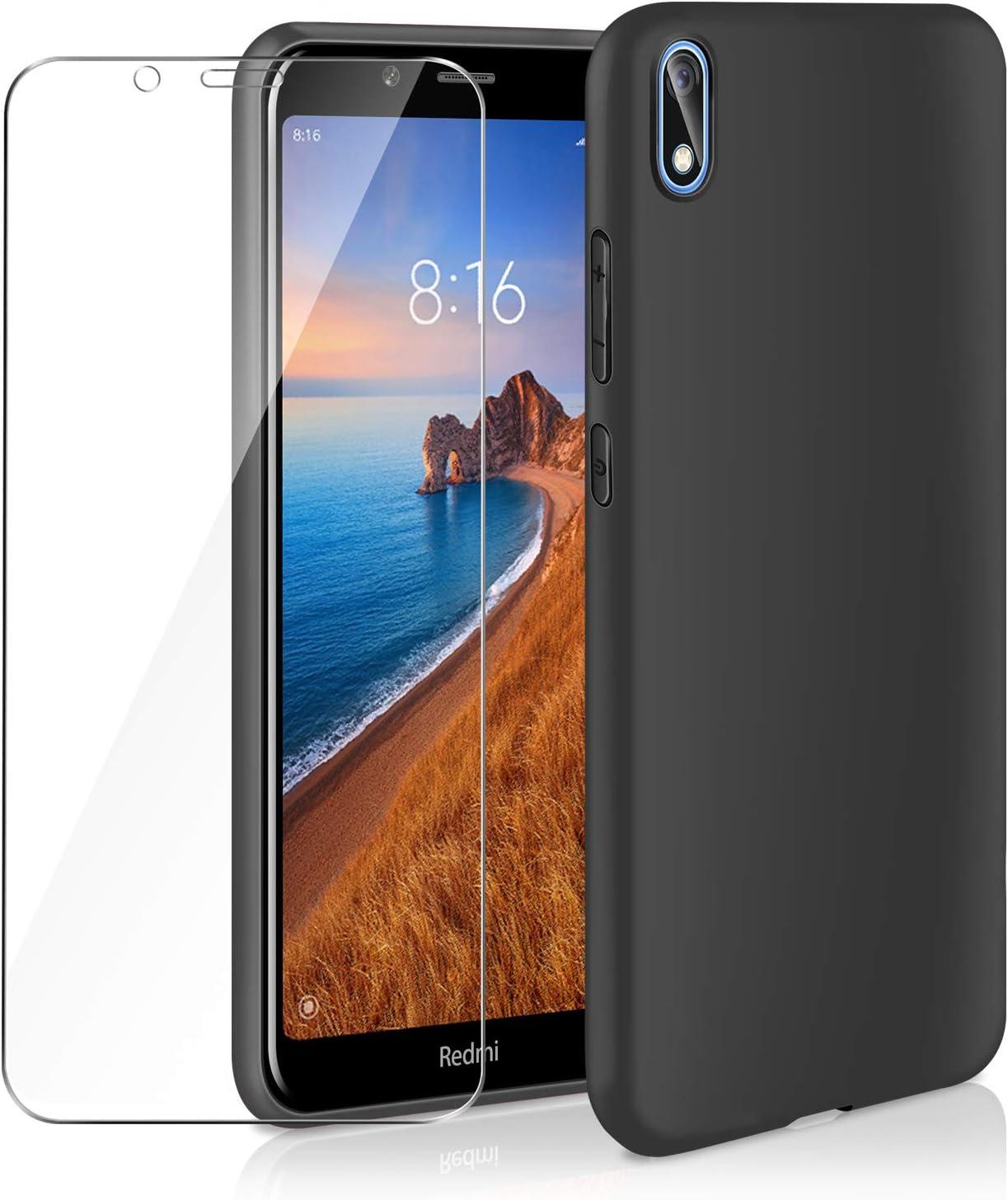 AROYI Funda Xiaomi Redmi 7A & Cristal Templado, Carcasa Silicona TPU Ultra Fina Alta Resistente y Flexibilidad Fundas Cover Caso para Xiaomi Redmi 7A-Negro